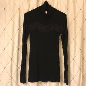 Free People Long Line Turtleneck with Lace Inset
